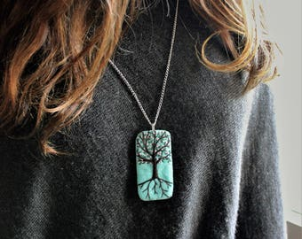 Tree of Life Pendant - hand embroidered  mint green ecofelt felt,  with tree, pink blossoms and Spring theme