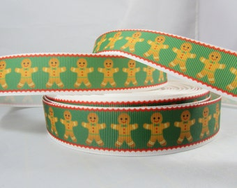 "Ginger bread man Christmas ribbon, Christmas craft supplies, 1"" Ribbon by the yard, RN16087"