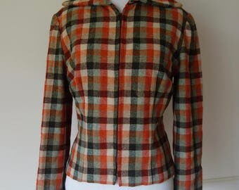 Vintage Womens Late 40s Early 50s Wool Plaid Zip Jacket