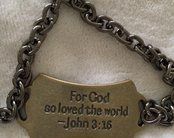 Faith Bacelet for Him, Men Inspirational Bracelet, For God loved the world message, Religious gift