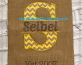 Burlap Personalized Monogrammed Garden Yard Flag  Request a custom color