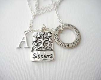 Sisters, Best Friends- Initial Necklace/ Sisters Jewelry, Sibling Jewelry, inspiration, sisterly love, love for sister, Gift for Sister