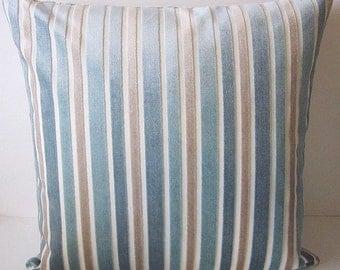 Cut Velvet Pillow, Aqua Velvet Pillow, Striped Velvet Pillow, Aqua Striped Pillow, Velvet Pillow Cover, Blue Velvet Pillow, Designer Pillow