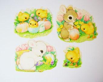 vintage Easter decorations: die cut bunny, chicks, eggs