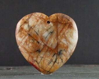 Extra large Cherry creek  jasper pendant , REversible, Natural stone, Jewelry making supplies  B6489