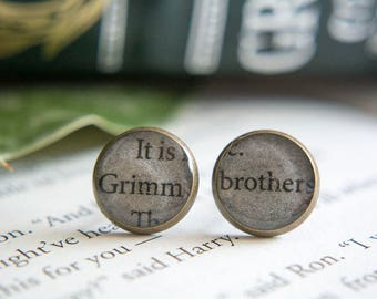 Grimm Fairy Tales Book Earrings Book Page Brothers Grimm Jewelry Book Jewelry Earrings Bookish Gifts Book Club Gift