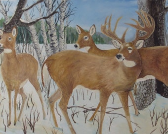 Deer in the Woods Signed Painting - Rustic Field Ranch - Farmhouse - Cabin - Hunting Shack - Man Cave -  Shabby Chic Framed Art Decor