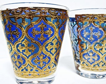 Georges Briard Set of 2 Firenza Blue Green 22K Gold, Old Fashioned Glassware/Barware, Mid Century