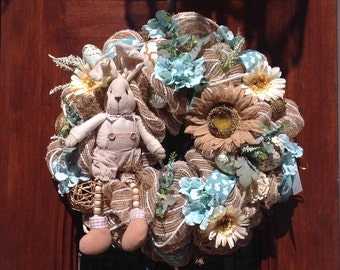 Cute Neutral Bunny Mesh Wreath