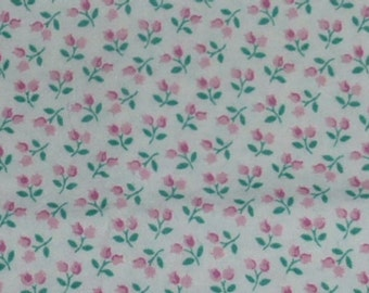 One Yard of Vintage Quilt Cotton Fabric with Rosebuds on White by Concord Fabrics