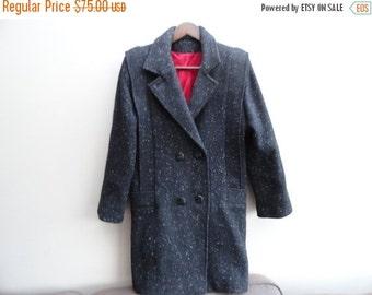 SALE Wool Black/grey tweed Winter Coat with Red Lining M L Vintage
