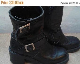 SALE Black Ankle Boots - Piston - Large buckles - Chunky heel - Size 36