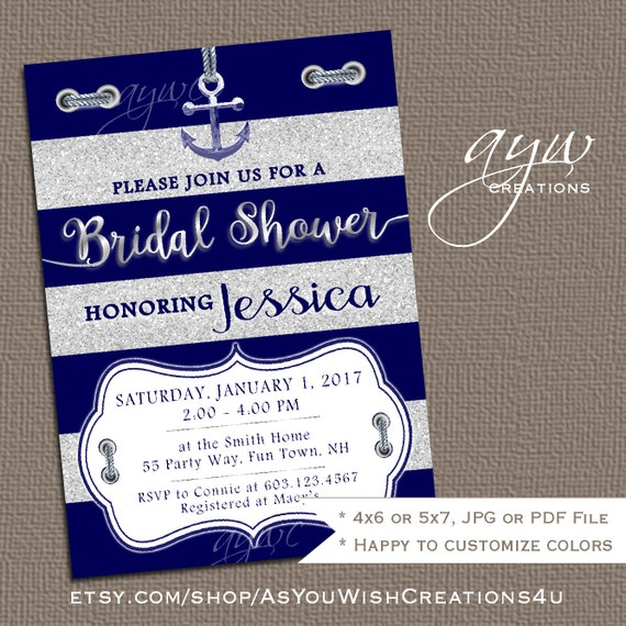 Nautical bridal shower invitation printable bridal for Glitter wedding invitations walmart