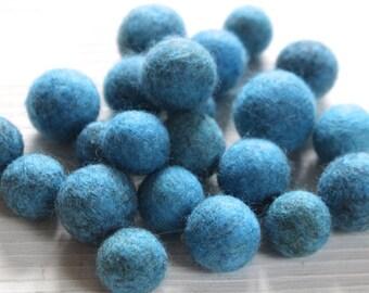 blue with a hint of brown  handmade felt beads