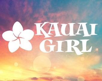 Kauai Girl Vinyl Decal Sticker Hawaii Plumeria Kauai Stickers, Tumbler Cup Decals, Laptop Sticker, Custom Vinyl Decal, Glass Decals