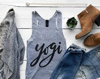 Yogi Tank • Calligraphy Yoga Workout Tank Top • Yoga Apparel • Gym Shirt • Gray Tri-Blend Racerback Tank • Yogi Top Design • FREE SHIPPING