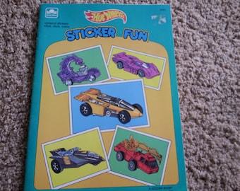 Vintage Hot Wheels sticker fun book, unused, Mattel 1989