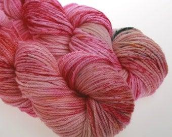 Hand dyed Yarn 'Crash Hot' - Merino Wool Yarn, DK,  Hand dyed wool yarn   Pink  100g