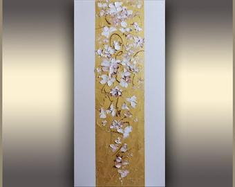 "Golden Floral Art, ORIGINAL Oil Painting, Original Art, Gold Metallic, Abstract Art Painting, GIFT IDEAS, Gift for Her, 30""x15"" by Tatjana"