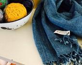organic indigo handwoven shawls/scarf : medium sized yarn