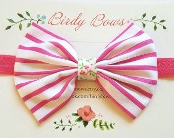 Pink Stripe Bow Headband, Baby Headbands, Baby Girl Headbands, Baby Girl Headbands, Infant Headbands, Baby Bows