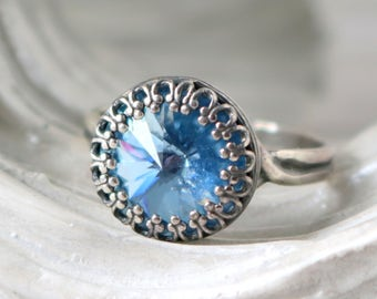 Princess Crown Ring | Light Sapphire | Swarovski Crystal Ring | Adjustable | Antique Silver Crown | Light Sapphire Bridesmaid | Gift For Her