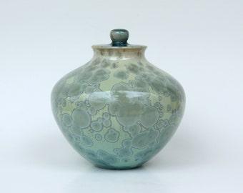 Small Aqua Crystalline Cremation Urn
