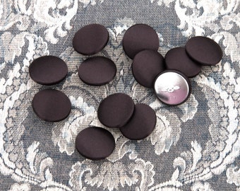 """12 Vintage 1"""" Fabric Covered Shank Buttons. Dark Brown Satin. Silver Metal Back and Shank. Sewing, Applique. High Quality Item 4040FC"""