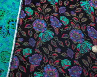 """2 Yards of 48"""" Fabulous Vintage Floral Jacquard Woven Fabric. Satin Tone Brocade Embroidery. Medium Weight. High Quality Sewing Fabric. 4077"""