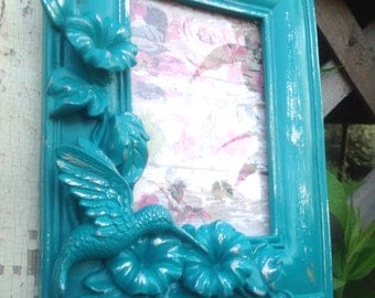 Baroque 3D Hummingbird Picture Frame 4x6 - Turquoise Ornate Eclectic Frame - Table Top Easel Back