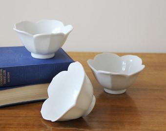 Vintage Lotus Bowls - Set of Three Small White Ceramic Lotus Shaped Bowls - Mid Century Modern