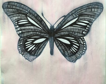 Butterfly in the Ponk Original Ink Illustration on Paperand Paint