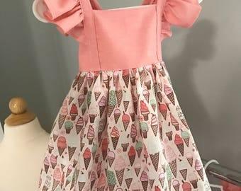 Ice cream dress - ice cream birthday dress  - pink ice cream dress - first birthday dress - pink toddler dress - ice cream party dress -