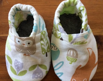Soft sole infant to toddler shoes, elastic heel, woodland animals, first shoes, customizable
