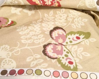 17 Yards Home Decor Fabric Taupe Butterflies By P Kaufman ~Small Stains