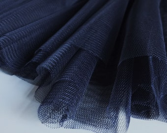 Navy Dark Blue Soft Tulle Fabric 150cm wide - Evening / special occasion wear - Sold by the metre (M1)