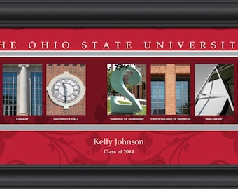 PERSONALIZED & FRAMED NCAA Ohio State Buckeyes Letter Art Sports Prints