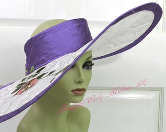 Derby Hat Large Brim / Wedding Hat / Pony Tail Hat / Messy Bun Hat