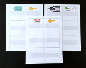 Password Log, To Do List Sheets, and Jot it Down Sheets