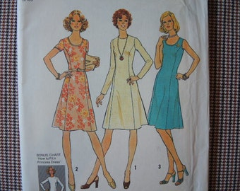 vintage 1970s simplicity sewing pattern 7026 misses dress size 6