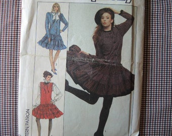 vintage 1980s simplicity sewing pattern 8735 UNCUT misses dress and jumper size 6-8-10