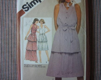 vintage 1980s Simplicity sewing pattern 9933 misses pullover lined dress in two lengths size 12