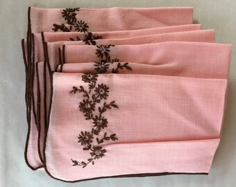 9 Pink and Brown Linen Vintage Napkins, Embroidery Flowers, Homemade, Shabby Chic, Cottage Style, Mothers Day, Vintage Linen, 1950s, 1960s
