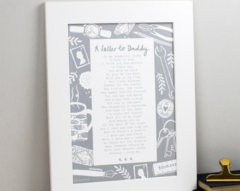 Daddy Poem - Daddy Gift - Custom Daddy Poem Print - Personalised Daddy Gift - Daddy Print - Father's Day Gift