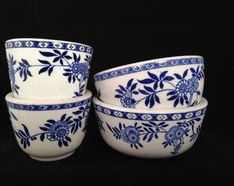 Bowls, York Kitchen, blue and white, floral, vintage, restaurant ware, diner