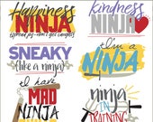 Ninja Clipart Set -Personal and Limited Commercial- Cute Ninja Word Clip art
