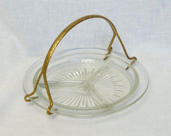 Vintage divided relish dish with gold handle...glass divided dish...divided plate or tray.