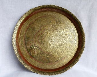 Vintage enameled etched brass tray...etched brass tray...enameled tray...shabby chic...worn enamel.