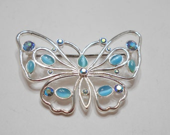 Gorgeous Blue Moonstone & Aurora Borealis Butterfly Brooch (5518)