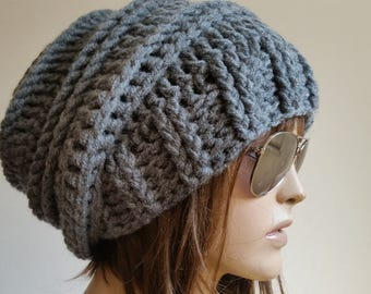 Womens Hats winter hat Gift for her Cap Beanie Gray woman hats Womens Cancer Headwear Chunky Knit Hat Beanie